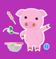 cute pig cartoon sticker set on blue background vector image
