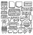 doodle frames set isolated on white background vector image