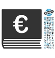 Euro Sales Book Flat Icon With Bonus vector image vector image