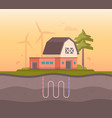 farm house with sewage system - modern flat design vector image vector image