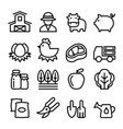 farm icons set line icon vector image vector image