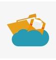 flat design envelope and file folder on cloud vector image vector image