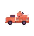 flat farmer truck pickup delivering livestock vector image vector image