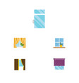 flat icon window set of clean flowerpot glass vector image vector image
