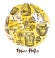 flower honey beekeeping farm honeycomb and beehive vector image