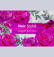 flowers card with fuchsia roses 3d vector image