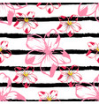flowers on a striped background 1 vector image vector image