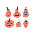 funny halloween pumpkins set simple flat style vector image