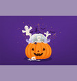 halloween pumpkin with dead mans hands and vector image vector image