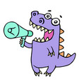 happy purple dragon shouting in loudspeaker vector image vector image