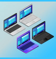 laptops with working screens in isometry vector image
