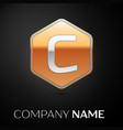 letter c logo symbol in the golden hexagonal vector image vector image