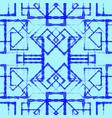 many symmetrical blue rhombuses and squares on a vector image vector image