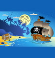 night seascape with pirate ship 1 vector image
