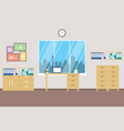 office space with big window and city landscape vector image vector image