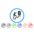 person steps to bitcoin rounded icon vector image