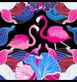 pink flamingos and abstraction vector image vector image