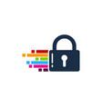 pixel art security logo icon design vector image