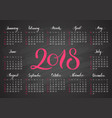 pocket calendar 2018 in dark colors lettering vector image