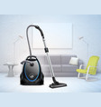 realistic vacuum cleaner interior vector image vector image