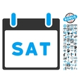 Saturday Calendar Page Flat Icon With Bonus vector image vector image