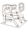 seats on the plane outline on the theme of travel vector image