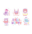 set cute pink and lilac animals vector image vector image
