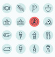 set of 16 eating icons includes soda pepperoni vector image vector image