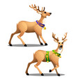 set of animated christmas deer with beautiful vector image vector image