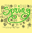 spring text lettering festive card hello spring vector image