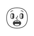 surprised smile fase black and white emoji eps 10 vector image vector image