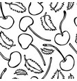 sweet cherry and mint leaves seamless doodle vector image vector image