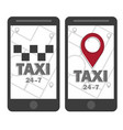taxi icon map pin with taxi checks sign vector image