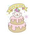 unicorn out from birthday cake celebrate happy vector image