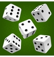 white rolling dice set icon vector image vector image