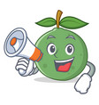 with megaphone guava character cartoon style vector image vector image