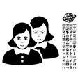 Women Flat Icon With Bonus vector image