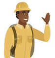young african-american traveler waving his hand vector image vector image