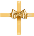 Golden Ribbon with Bow vector image