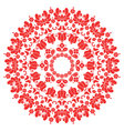 Kalocsai red floral embroidery - Hungarian round vector image