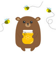 grizzly brown bear holding honey jar with vector image