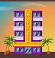 hotel on sunset landscape modern hotel building vector image