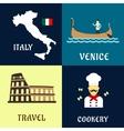 Traditional travel italian flat icons vector image