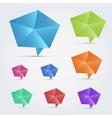 Set of 8 colorful origami speech bubles vector image