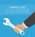 adjustable wrench in hand vector image