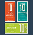 anniversasry background 10 years vector image vector image