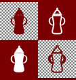 baby bottle sign bordo and white icons vector image vector image