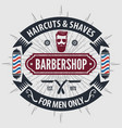 barbershop logo with barber pole in vintage style vector image vector image