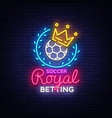 betting soccer neon sign football betting logo in vector image