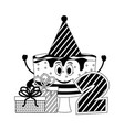 birthday cake party hat gift and number two vector image
